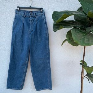 High Waisted Pleated Wide Leg Button Up Jeans